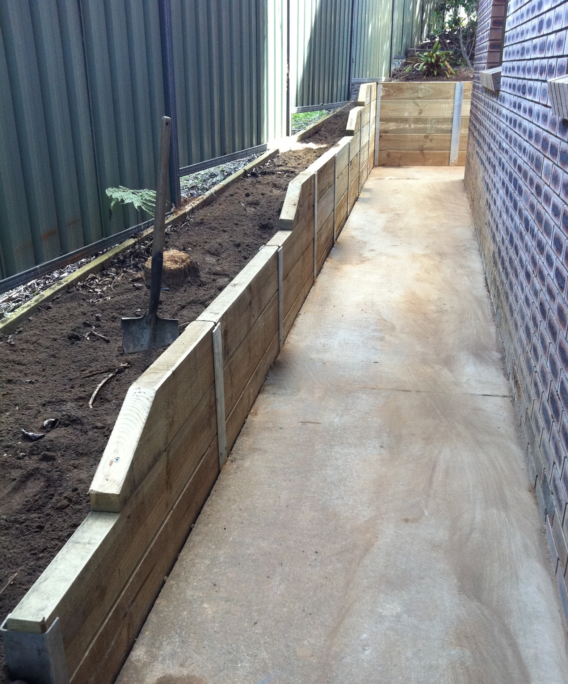 Sleeper Retaining Wall With H Beams Nature Coast Landscapes